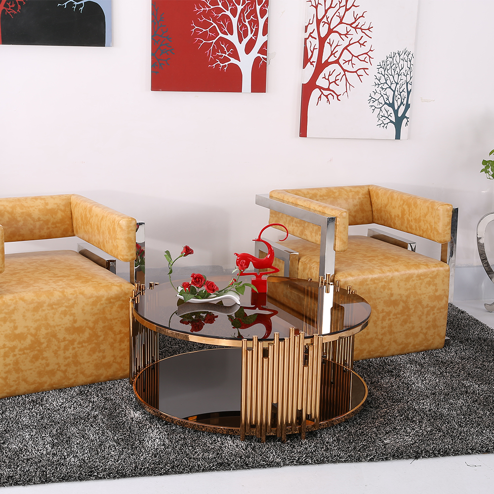 Modern furniture home office coffee table glass tea table stainless steel tempered glass coffee table