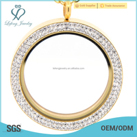 High Quality custom made 39mm pendants Magnetic With Crystal locket Jewelry