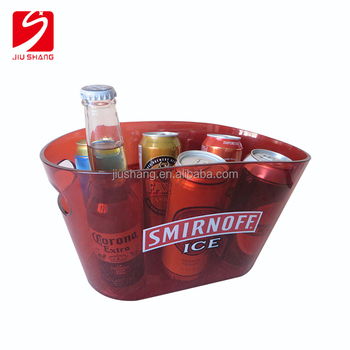 customized red color clear plastic ice bucket with handle