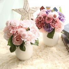 New Arrival Hot sale Decorative Artificial Real Touch Dahlia Rose Bouquet for Wedding Home Office Party