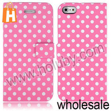 Polka Dots Magnetic Flip Wallet Leather Case for iPhone 5S 5 with Stand