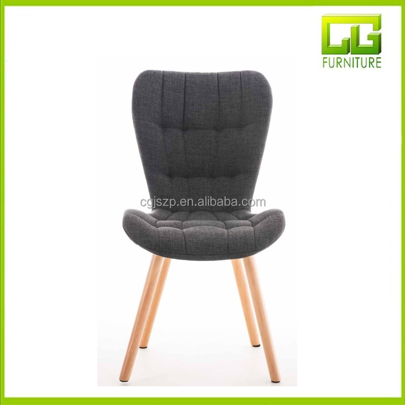Modern Dining Chair ELDA with high back and fabric cover, natural coloured wooden legs, decorative seams dark grey