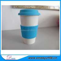 Wholesale White Ceramic Tea Cups With Silicone Mug Cover