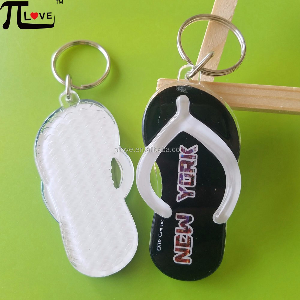 Hot sell promotional gifts beach slippers shape clear acrylic keyring with custom logo