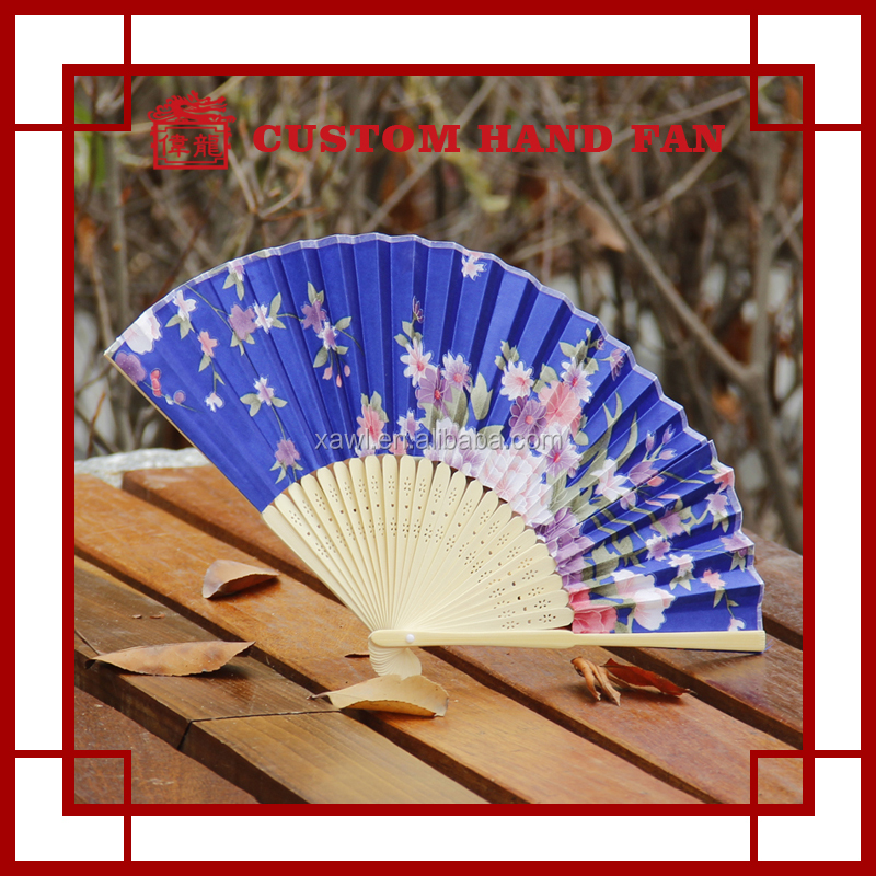 Hot selling Custom Fabric Wedding Favors Bamboo Hand Fan GYS700-1