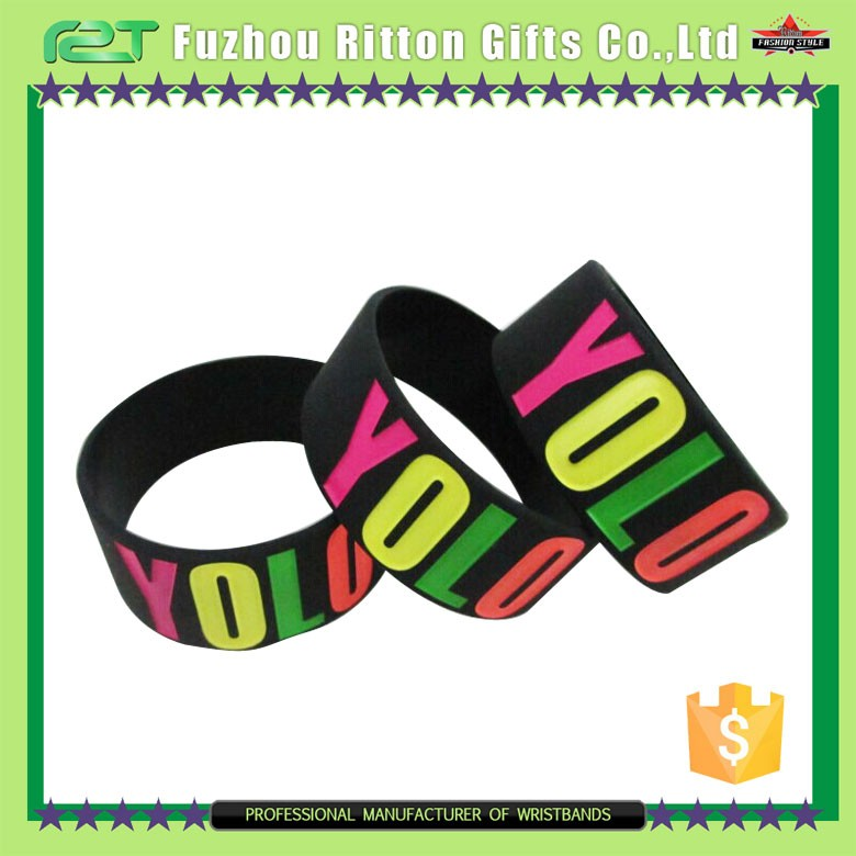 Logo customized rubber wrist band, fancy wrist band