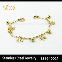 18k gold wholesale dragonfly charms stainless steel bracelet