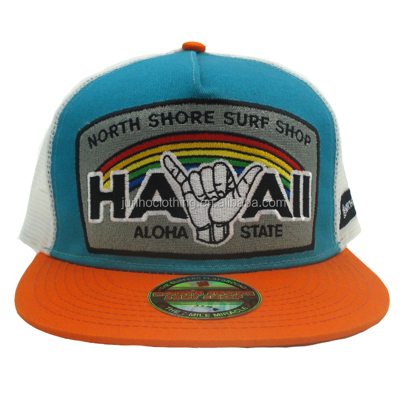 Embroidery hand letters patches summer mesh flat orange bill trucker snapback cap