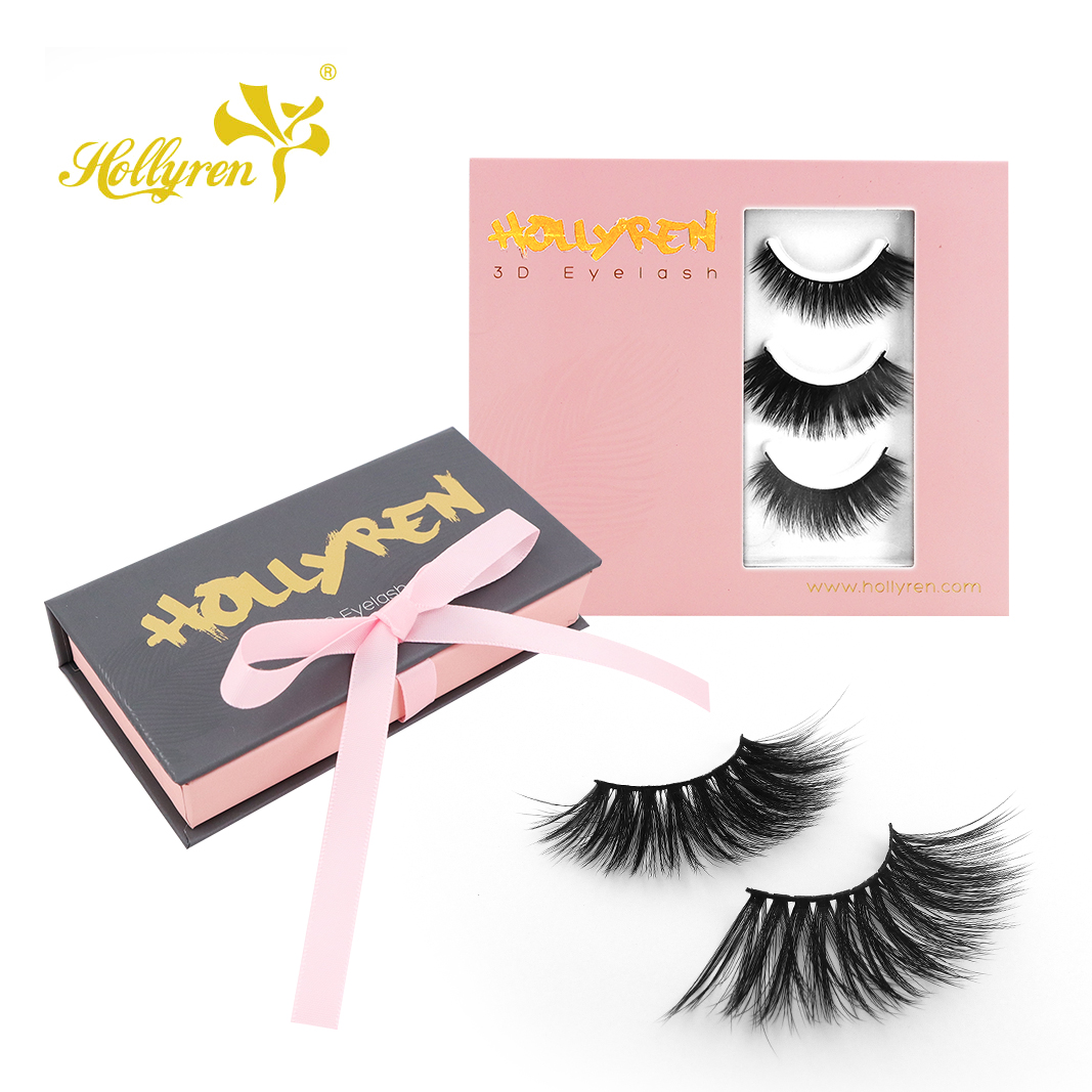 Hollyren 25mm long length faux mink lashes dramatic outlook extra long lashes