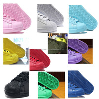 2016 Free shipping new arrival fashion supercolors men women pharrell williams casual shoes pink black red blue purple superstar