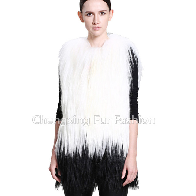 CX-G-B-208C Outwear Winter Warm Fashion Design Genuine Long Hair Goat Fur Vest For Women