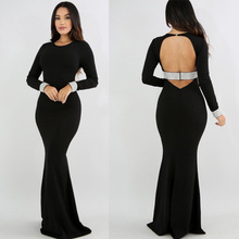2017 Wholesale Long sleeve bead bling cuff Backless sexy maxi dress women Afiran Evening bodycon dress