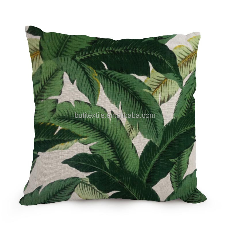 custom digital printing Green leaf Tropical pillow case/cushion cover Palm tree