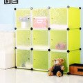 9 cubes green DIY storage shelves can hold books, clothes(FH-AL0033-9)