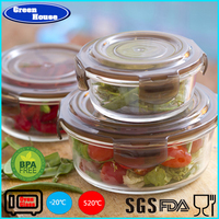 Home Microwave safe reheatable high borosilicate glass food container set