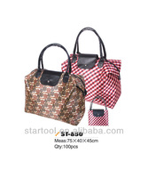 folding Shopping bag with PU handle