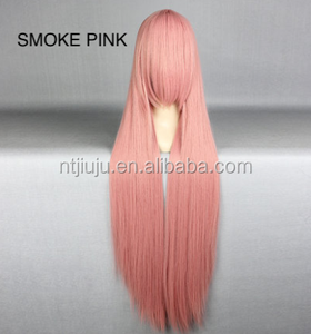 100cm Long Straight Party Wig High Quality SMOKE PINK Cosplay Hair Wigs Synthetic Anime Cosplay Wig