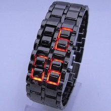 Lava Style Iron Samurai All Metal Red LED Faceless Watches top brand