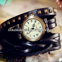 rivet double wrap leather wrist vintage watches