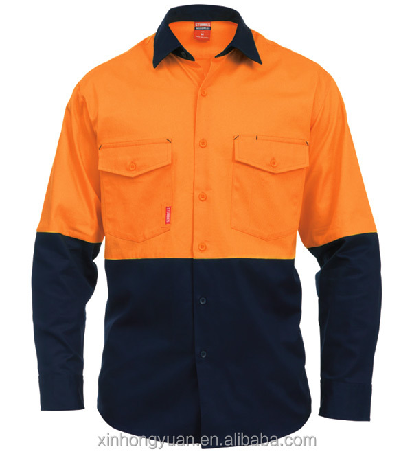 Bulk plus size combed cotton twill male safety button panel hi vis workwear