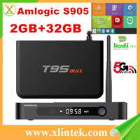 High speed android 5.1 HD tv box T95Max 100M Lan Port 3 USB2.0 port 2GB RAM 16GB ROM Amlogic S905 quad core TV box T95 max
