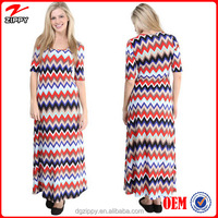 2016 New fashion design plus size pakistani Chevron Print maxi dress