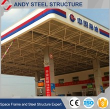 Pre engineered space frame steel structure petrol station construction