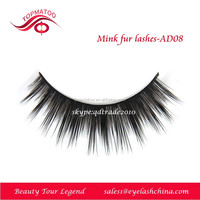 Real mink fur strip false eyelashes Long thick customized packing mink lashes AD-8