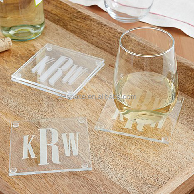 Custom Engraved Glass Bride And Groom Name Acrylic Wedding Coasters