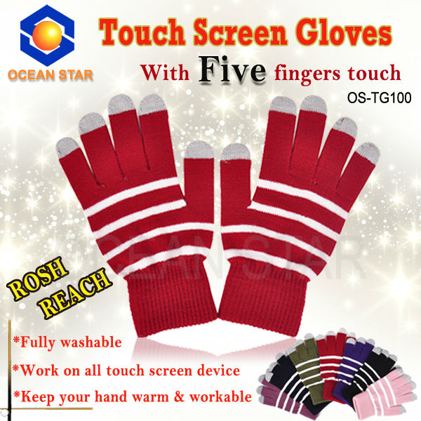 Touch Sreen Gloves with Two/Three/Five Touch Fingers