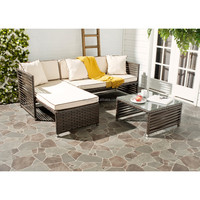 Accent avant-garde 3 pc home gallery wide wicker corner furniture with sunbed outdoor chaise lounge sofa