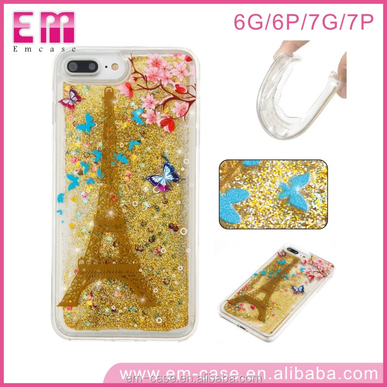 Beautiful Quicksand TPU Cell Phone Cover for Iphone5 6 7 ,Liquid Flow Case