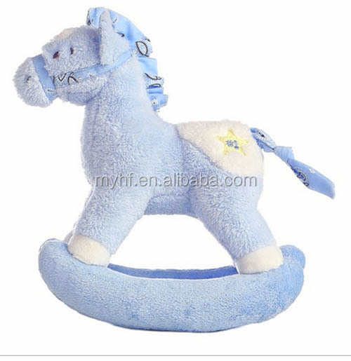 High quality safey for baby blue color pony rocking plush toy