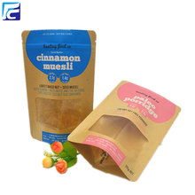 Resealable pouch custom printed kraft paper organic seeds packaging bags with clear window