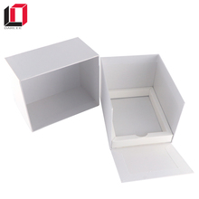 Special design chipboard paper packaging plain white custom gift box with open lids