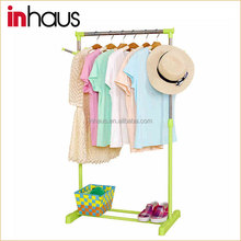 Single rail stainless steel adjustable telescopic hotel clothes rack