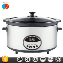 Chinese stainless steel multifunction 6.0L digital electric slow cooker with clay crock pot and tempered glass lid