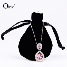 Oirlv Custom Logo Lovely Necklace Ring Jewellery Storage Velvet Pouch with Silk Ribbon Drawstring Jewelry Packaging Gift Bag