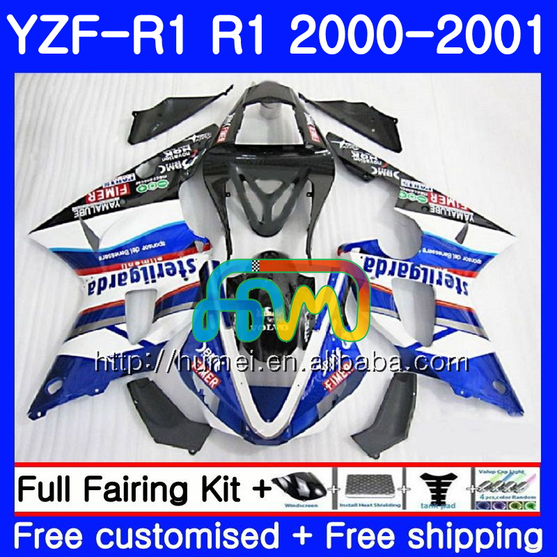 Bodywork For YAMAHA YZF 1000 YZF-<strong>R1</strong> 2000 <strong>2001</strong> blue white Body 98HM29 YZF1000 YZF R 1 YZFR1 00 01 YZF-1000 YZF <strong>R1</strong> 00 01 Fairing