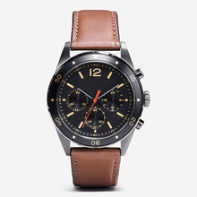 Customized your brands genuine leather strap wrist watch in chronograph quartz movement