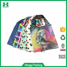 Wholesale custom print full color folding 190T polyester t-shirt bag/cheap nylon shopping tote bag