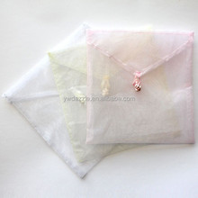 2015 cute square envelope white organza pouch for gifts packing
