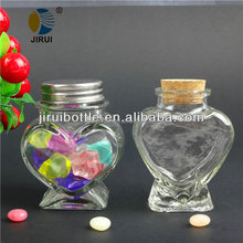heart shape wishing glass bottle with metal lid/rubber cork & 100ml wishing glass bottle