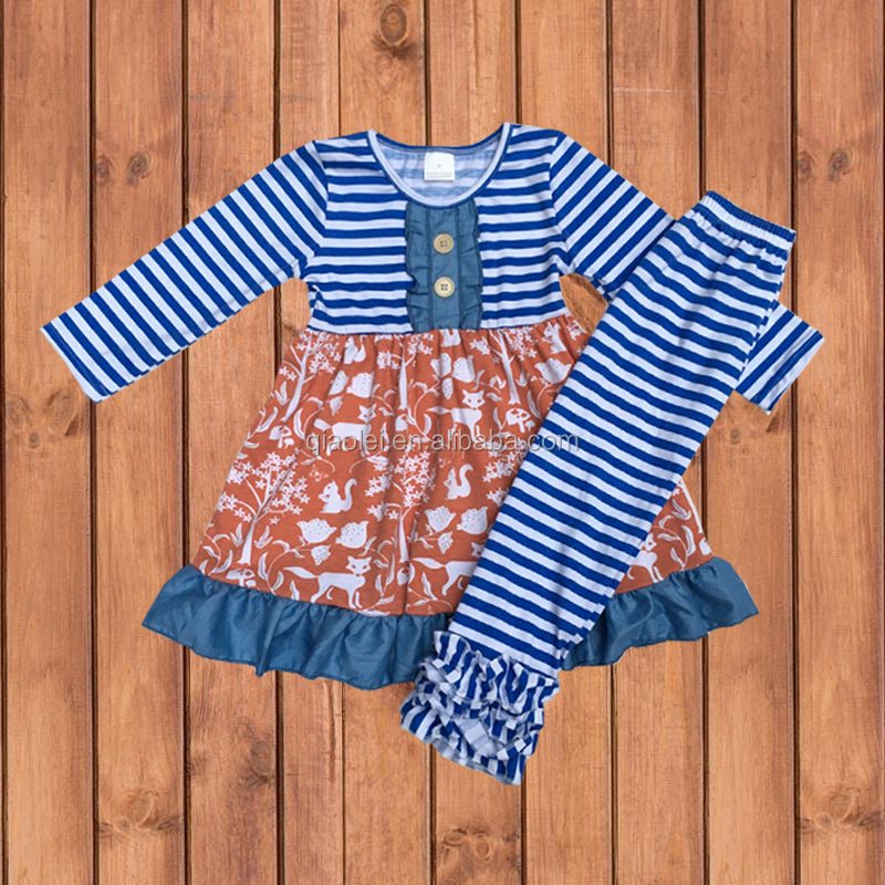 Fall Boutique Girls Outfit 2 Piece Kids Clothing Set Smocked Children Cothing Wholesale