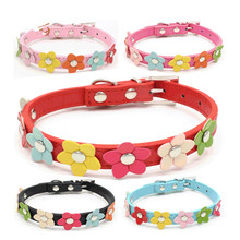 Queena Wholesale PU Leather Dog Collar One Row Sun Flower Studded Dog Pet Teddy Necklace Collar