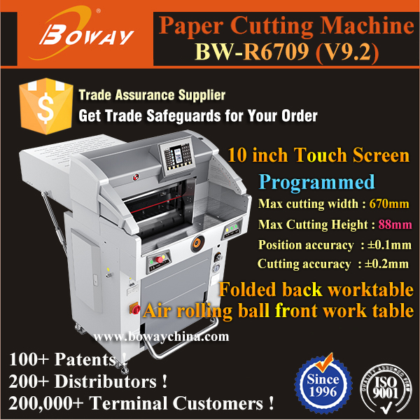 2017 BOWAY 1000 sheets Hydraulic Programmed 670mm paper cutter japan