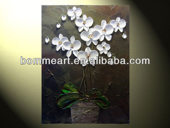 A few white flowers oil painting Hand painted wall art Decor Modern Landscape Oil Painting on canvas art