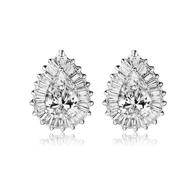 Water Tear Drop Shape Stud Earrings Top Quality Multi Prongs CZ Diamond Studs Earring Crystal Wedding Bridal Jewelry