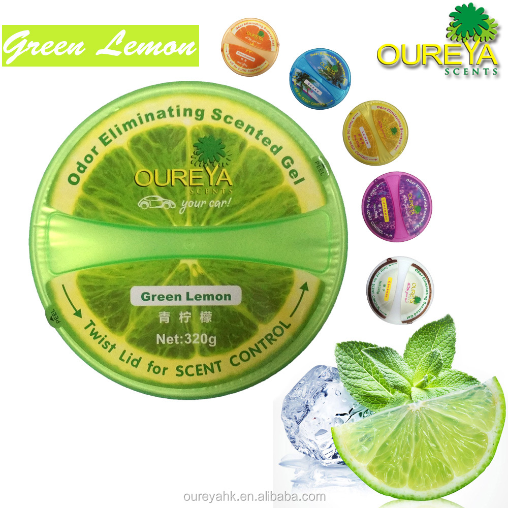 Oureya Factory direct sell hotel/car/home room lemon scented gel Air freshener/refresh 320g