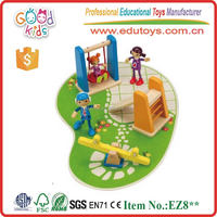Lovely Design Mini Wooden Playground Toys w/ wooden swing, slide and see-saw set